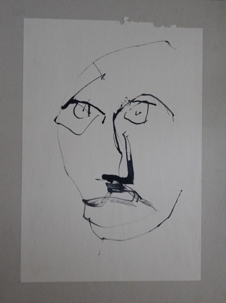 Fratze, Rohrfeder/Tusche auf Papier, 80-er Jahre, 29 x 42
