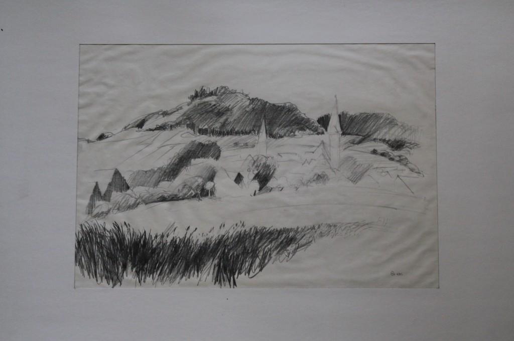 fränkische Landschaft, Bleistift auf Papier, 1981, 40 x 27