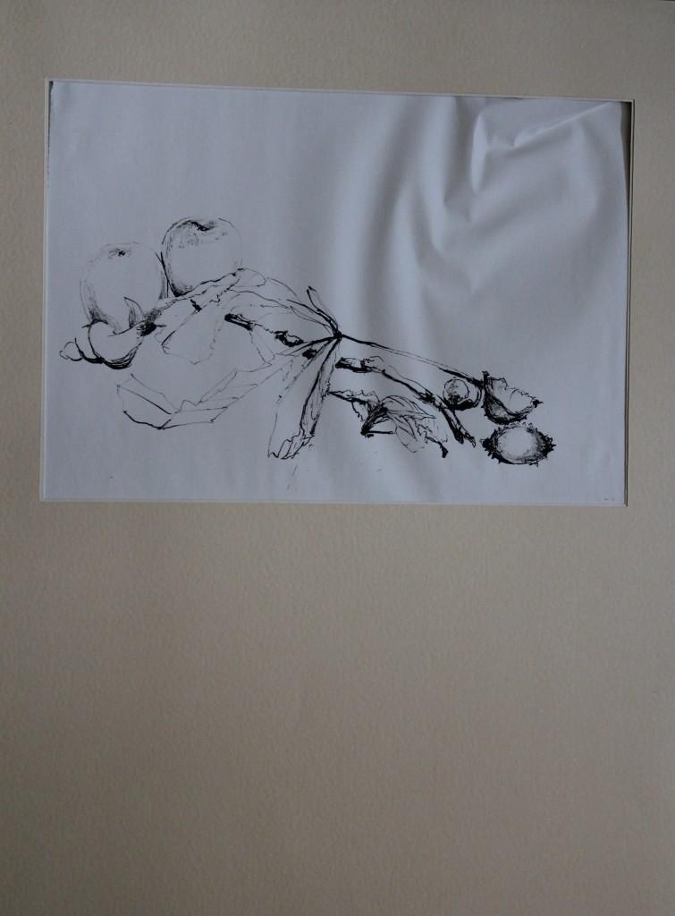 Stillleben, Rohrfeder/Tusche auf Papier, 80-er Jahre, 37 x 25,5