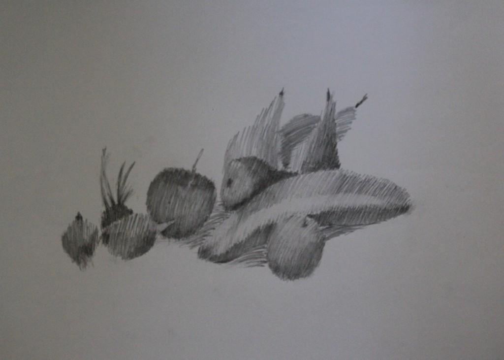 Stillleben, Bleistift auf Papier, 80-er Jahre, 59 x 42