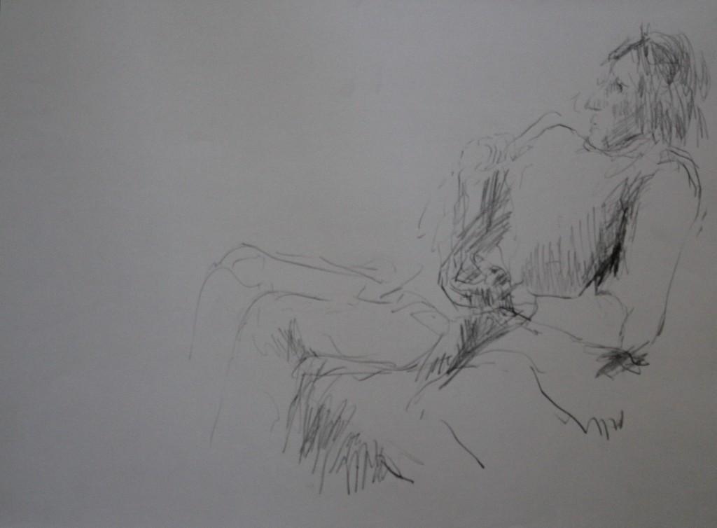 Figur, Bleistift auf Papier, 80-er Jahre, 59 x 42