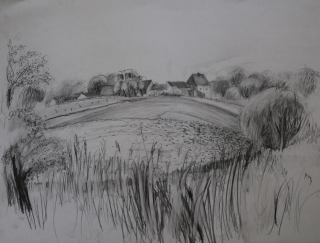 fränkische Landschaft, Bleistift auf Papier, 80-er Jahre, 59 x 42