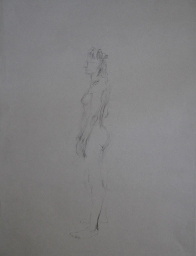 Akt seitlich, Bleistift auf Papier, 80-er Jahre, 42 x 57