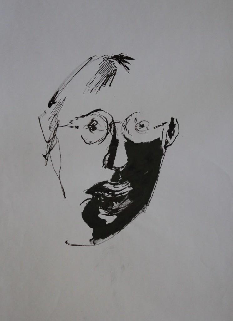 Selbst, Rohrfeder/Tusche auf Papier, 80-er Jahre, 42 x 56,5