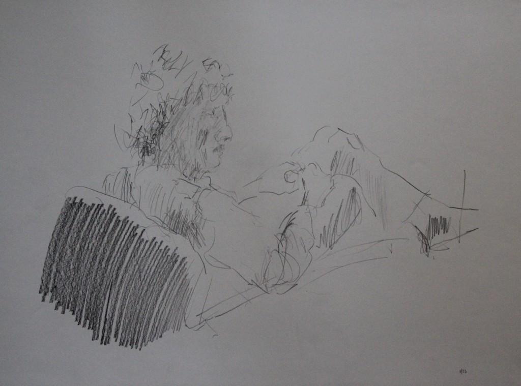 sitzende Figur, Bleistift auf Papier, 1983, 59 x 42