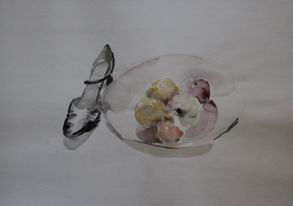 Stillleben mit Schuh und Äpfeln, Aquarell, 80-er Jahre, 60 x42