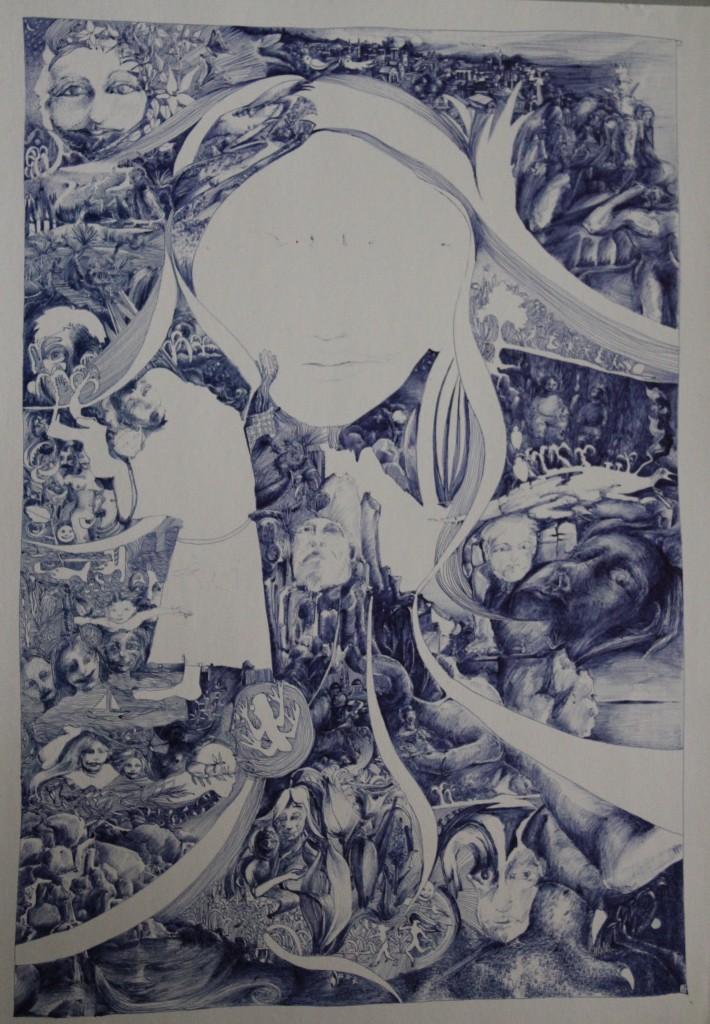 surreales Bild, Kugelschreiber auf Papier, 80-er Jahre, 42 x 59