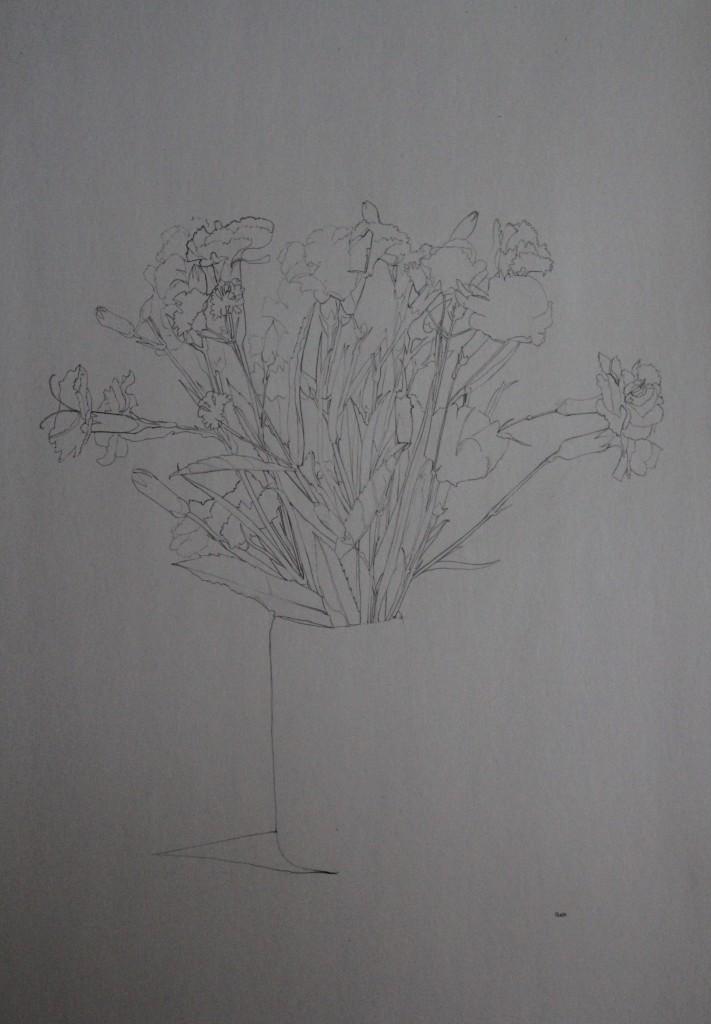 Blumenstillleben, Bleistift auf Papier, 1981, 42 x 59