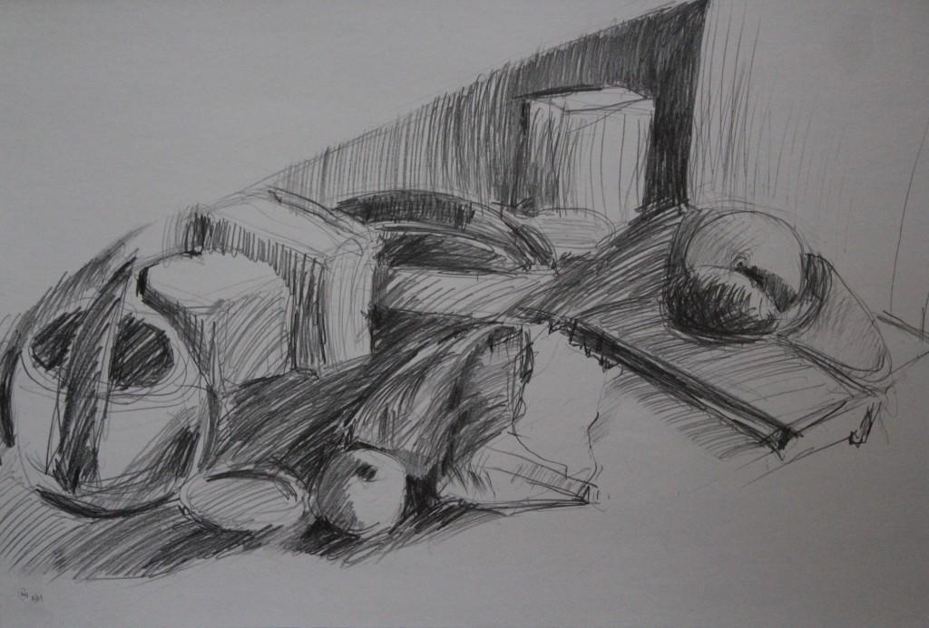 Stillleben, Bleistift auf Papier, 1981, 64 x 39