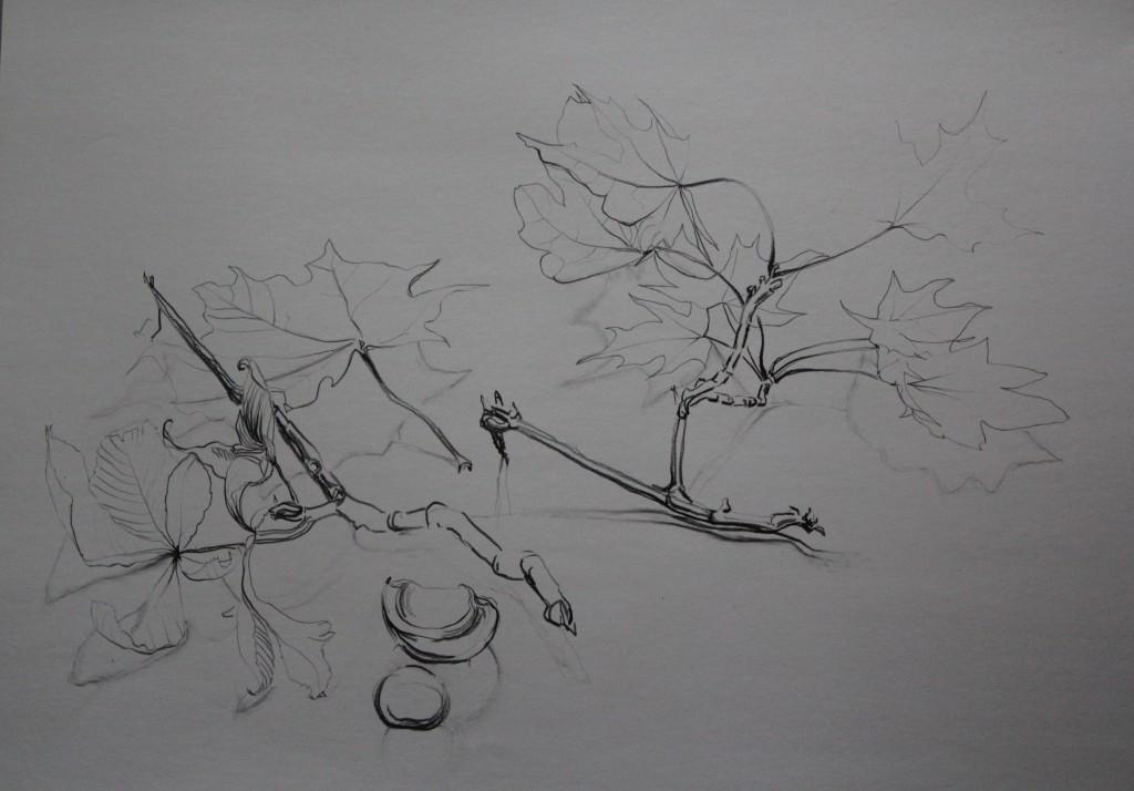 Stillleben Kastanien, Bleistift auf Papier, 80-er Jahre, 59,5 x 42