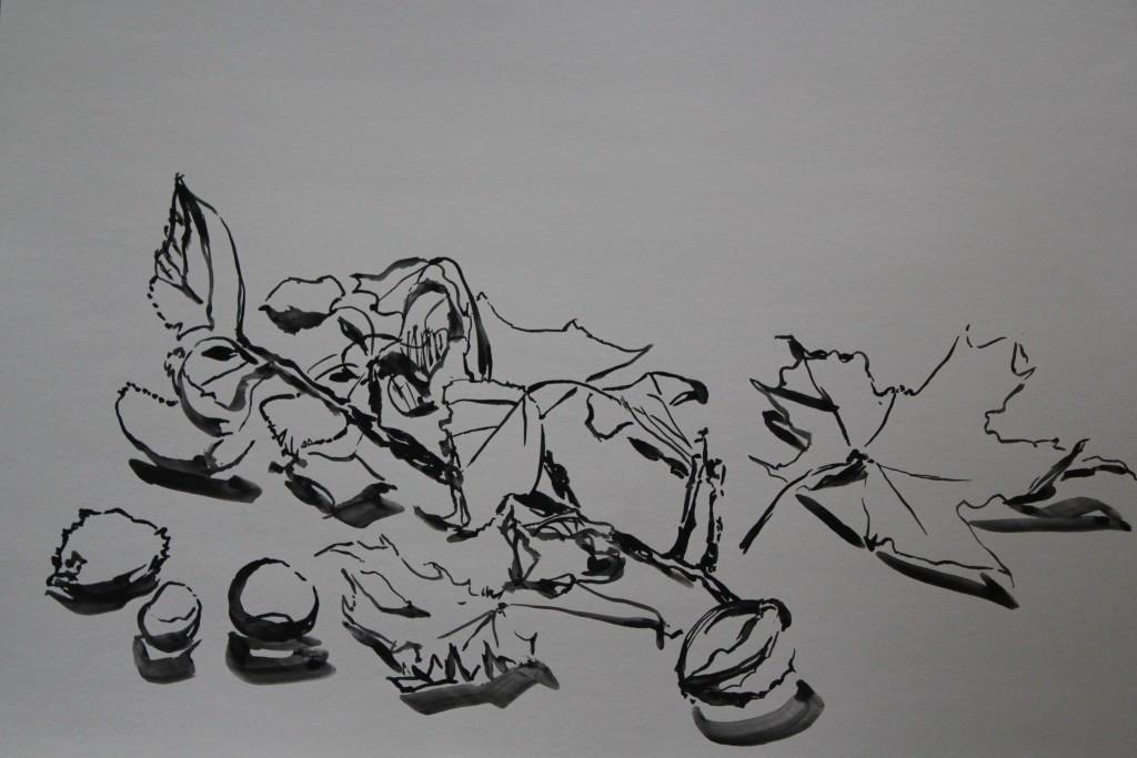 Stillleben Kastanien, Pinsel/Gouache auf Papier, 80-er Jahre, 59,5 x 42