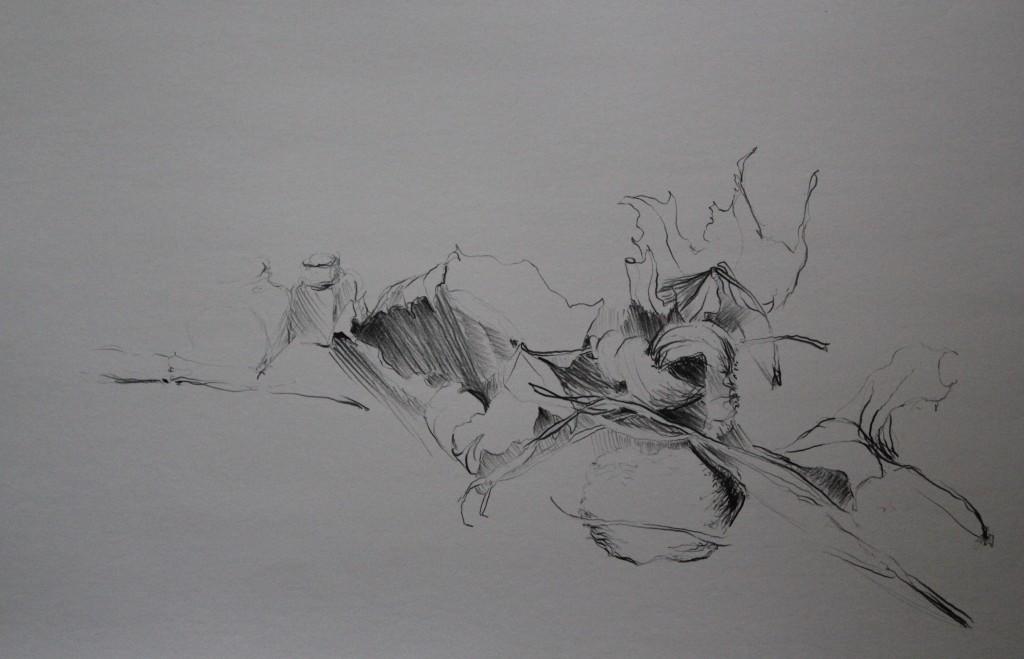 Stillleben mit Blättern, Bleistift auf Papier, 80-er Jahre, 59,5 x 42