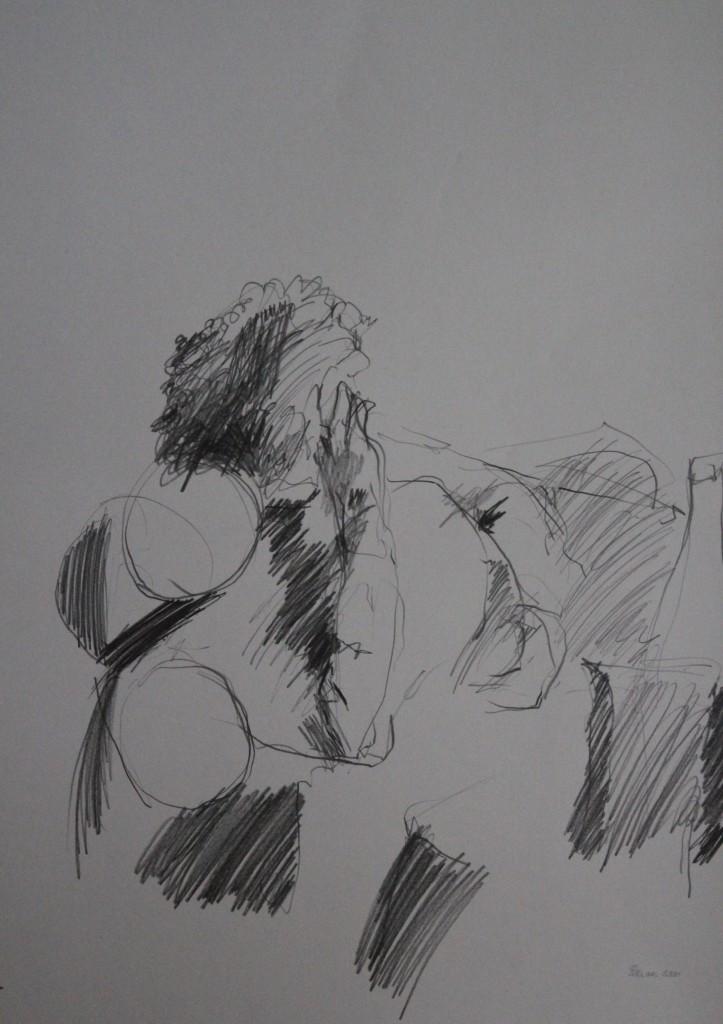 Szene mit Figur, Bleistift auf Papier, 1981, 43 x 56