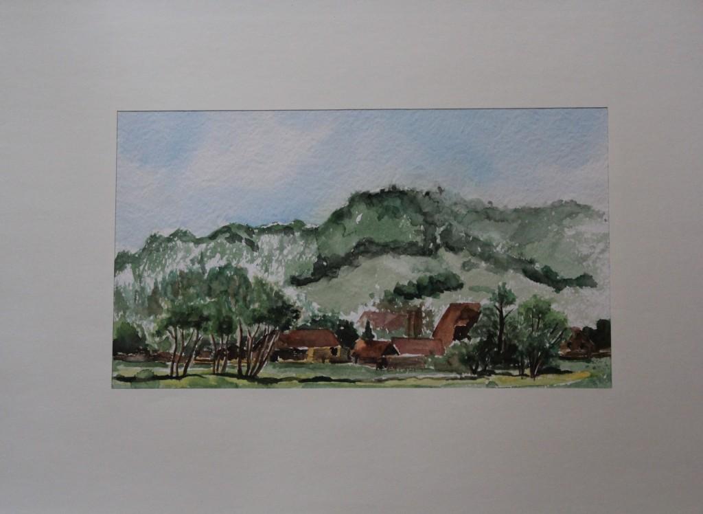 fränkische Landschaft, Aquarell, Ende 70-er Jahre, 39 x 22