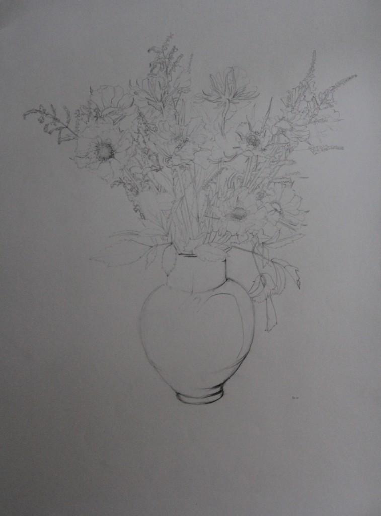 Blumenstillleben, Bleistift auf Papier, 80-er Jahre, 42 x 55