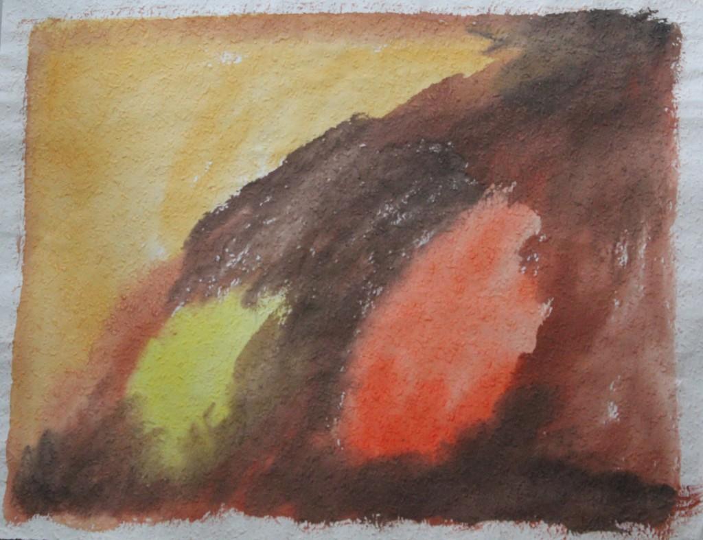 Farben (2 Flecken), Tempera auf Rauhfasertapete, 1982, 42 x 53