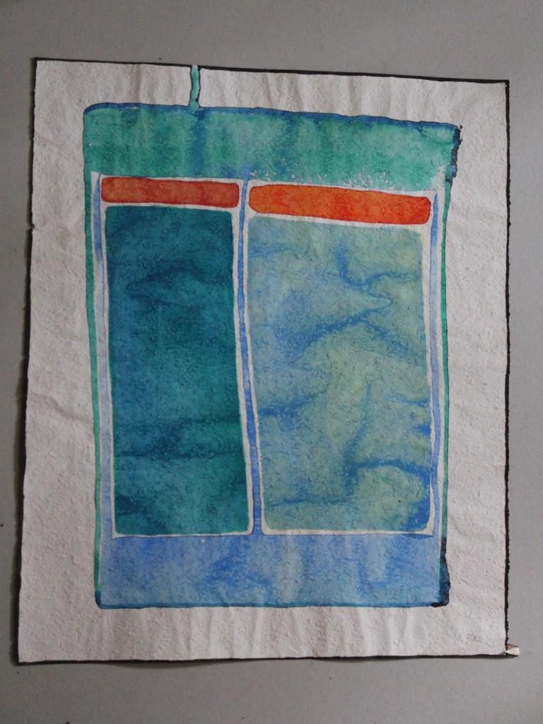 abstraktes Bild, Tempera auf Rauhfasertapete, 1982, 43 x 53