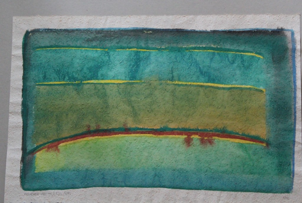 Erwachen und traurig sein, Tempera auf Rauhfasertapete, 1982, 53 x 35