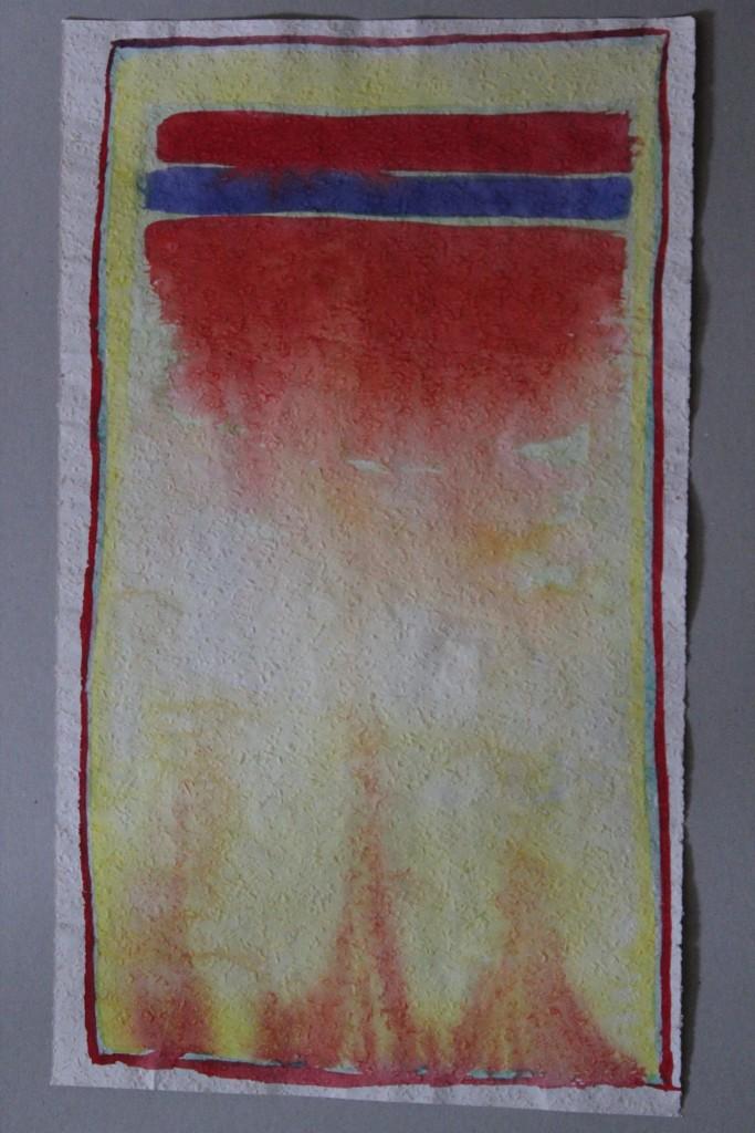 abstraktes Bild, Tempera auf Rauhfasertapete, 1982, 31,5 x 53