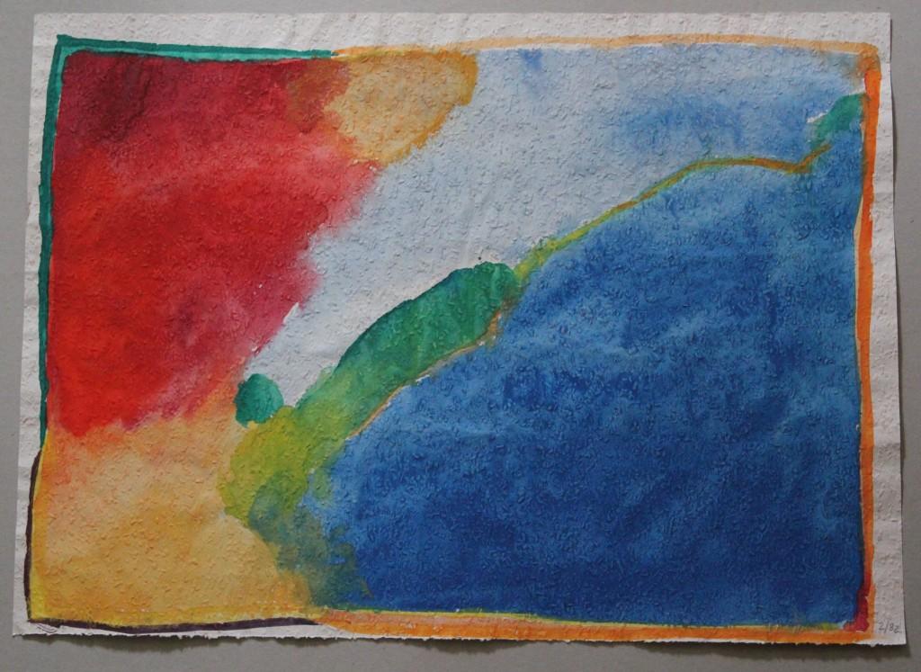 abstraktes Bild, Tempera auf Rauhfasertapete, 1982, 53 x 39