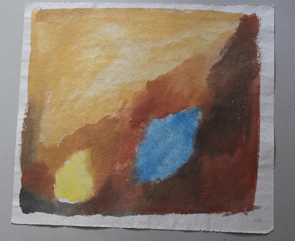 2 Flecken, Tempera auf Rauhfasertapete, 1982, 53 x 48