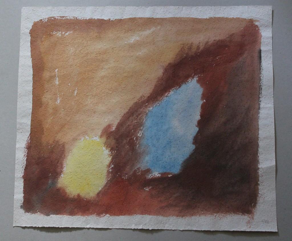 Bild mit 2 Flecken, Tempera auf Rauhfasertapete, 1982, 53 x 47