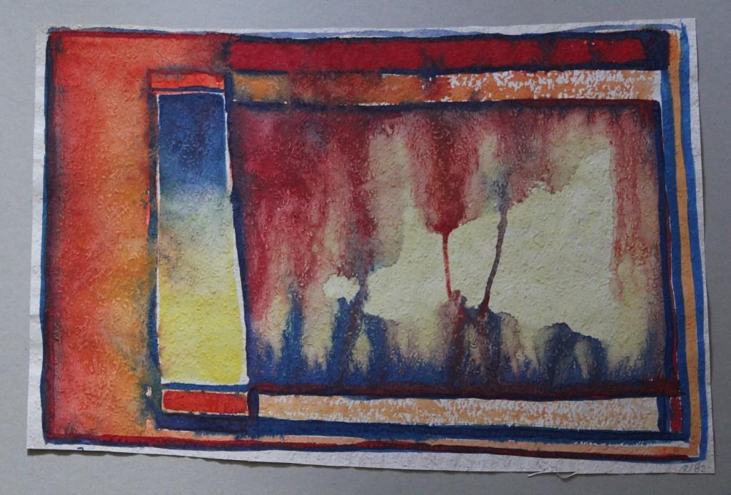 Bild, Tempera auf Rauhfasertapete, 1982, 53 x 36