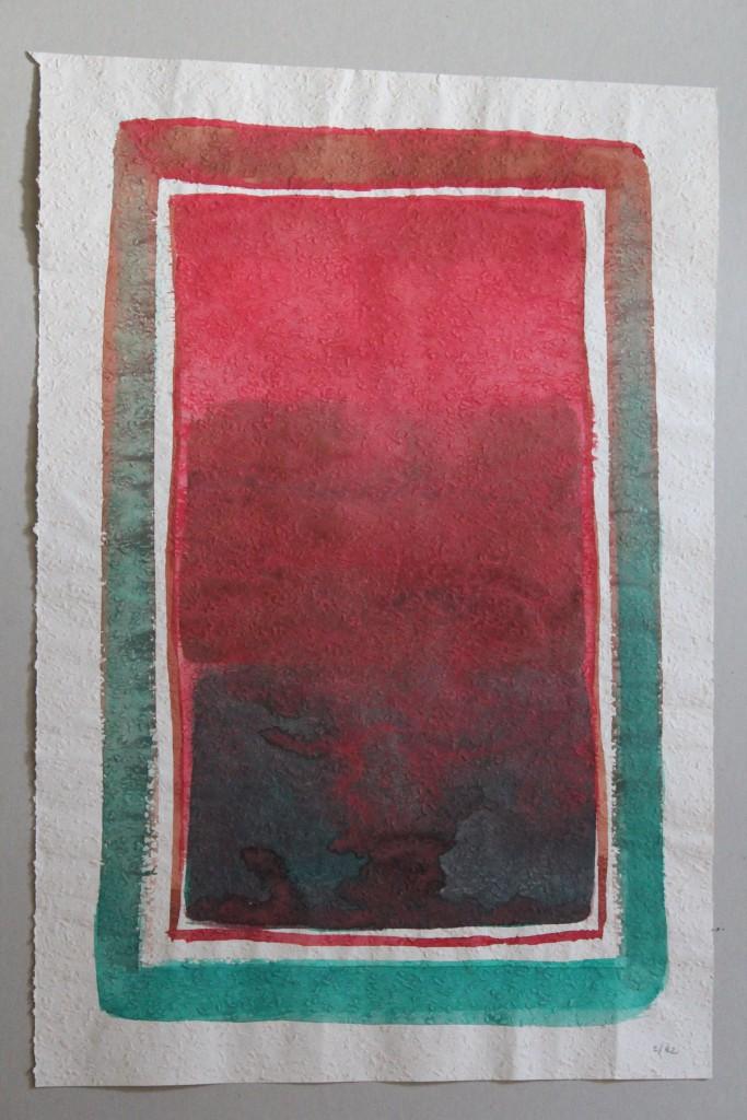 abstraktes Bild (Grenzen), Tempera auf Rauhfasertapete, 1982, 38 x 53