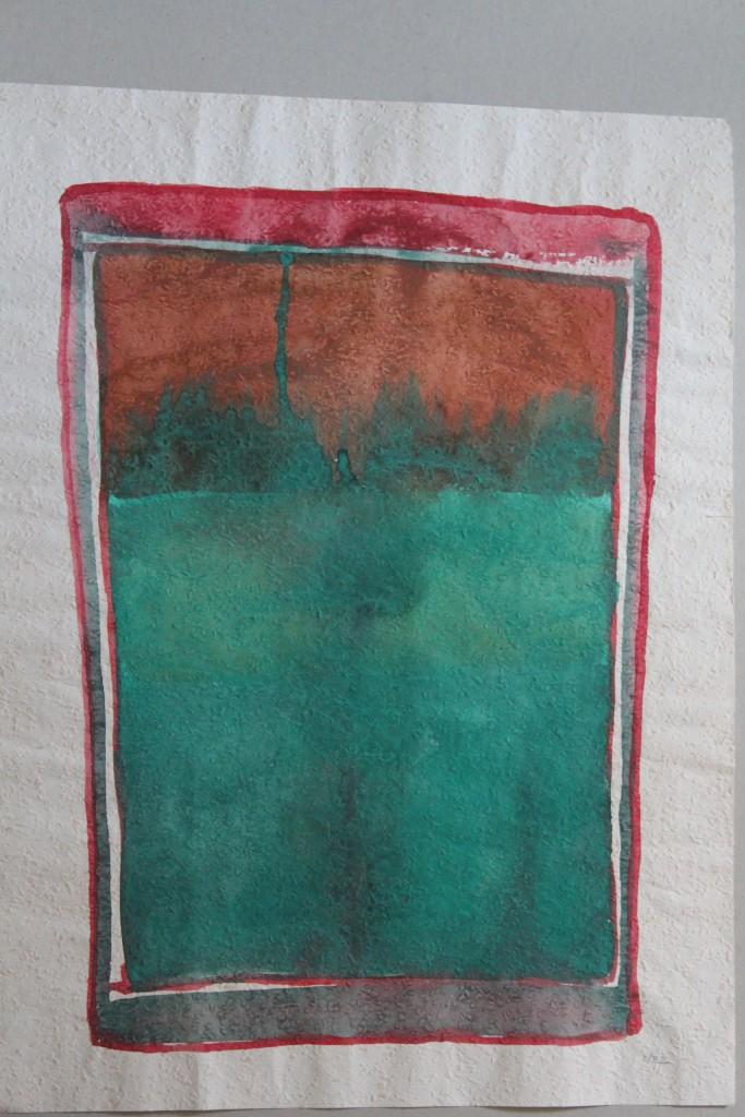 abstraktes Bild (Grenzen), Tempera auf Rauhfasertapete, 1982, 40,5 x 53