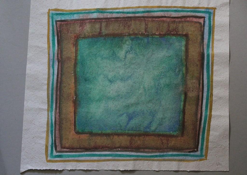 Bild (Grenzen), Tempera auf Rauhfasertapete, 1982, 53 x 46