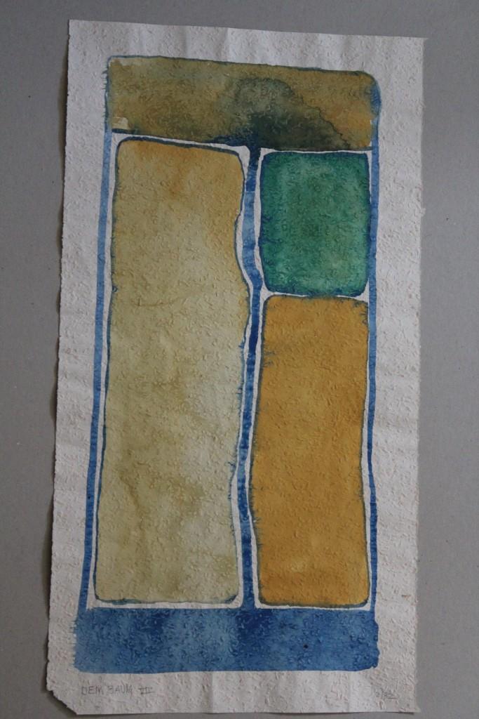 Dem Baum VII, Tempera auf Rauhfasertapete, 1982, 28,5 x 53