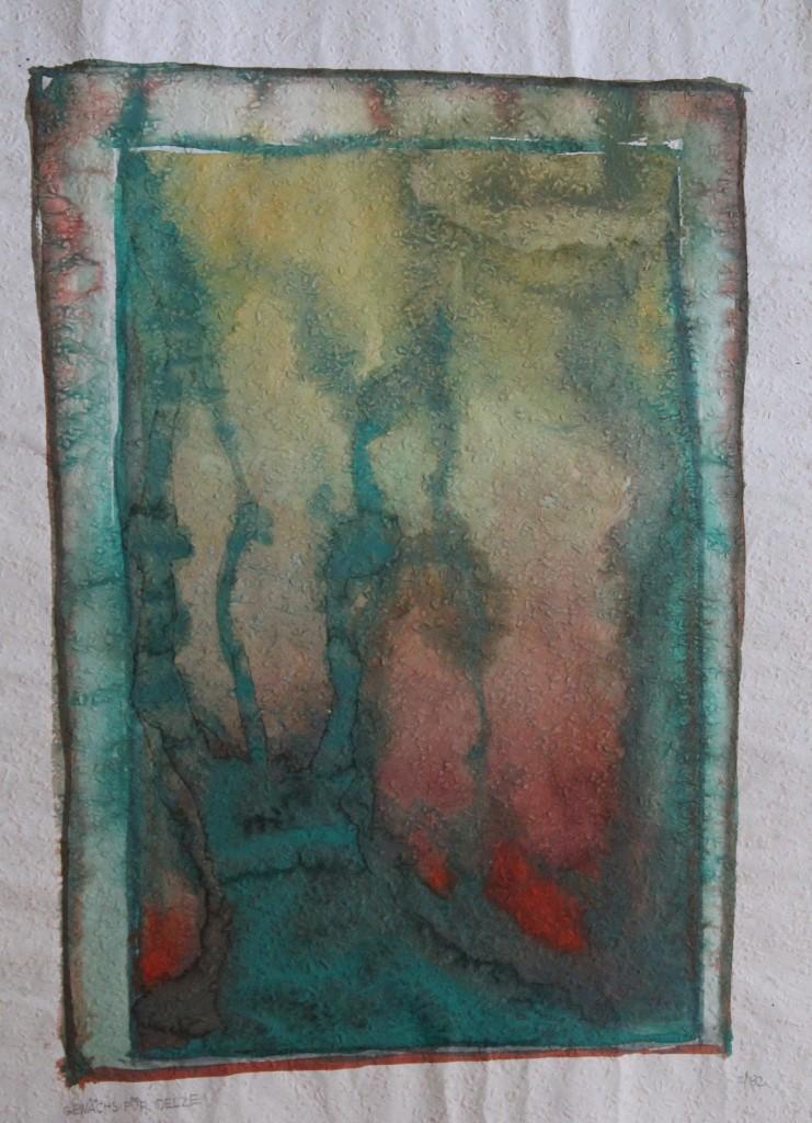 Gehölz für Oelze (nur Gesosse), Tempera auf Rauhfasertapete, 1982, 40 x 53