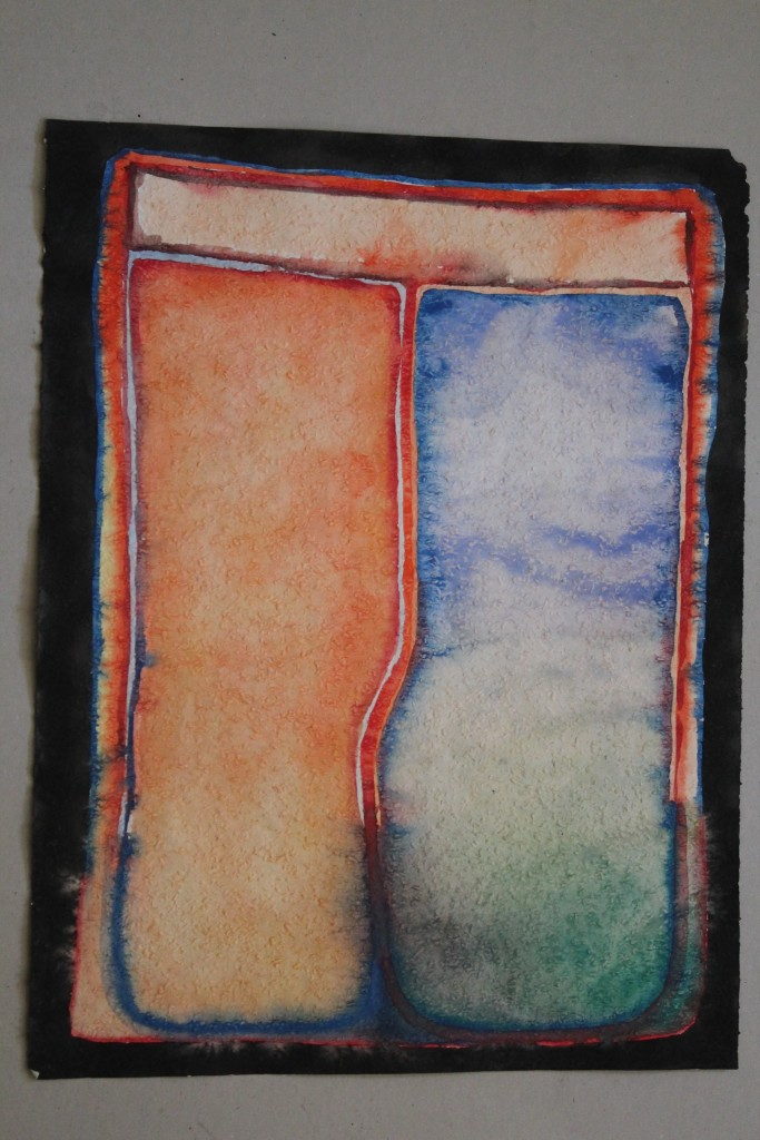 geteiltes Bild, Tempera auf Rauhfasertapete, 1982, 40 x53