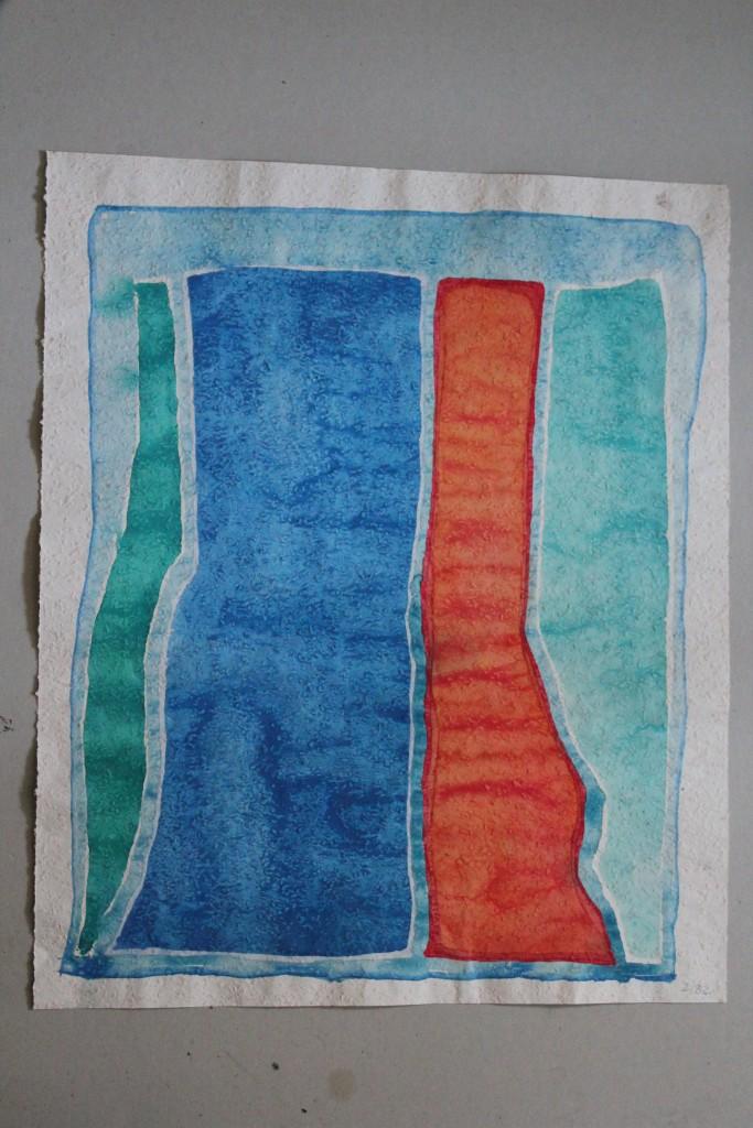 Säulenbild, Tempera auf Rauhfasertapete, 1982, 44 x 53
