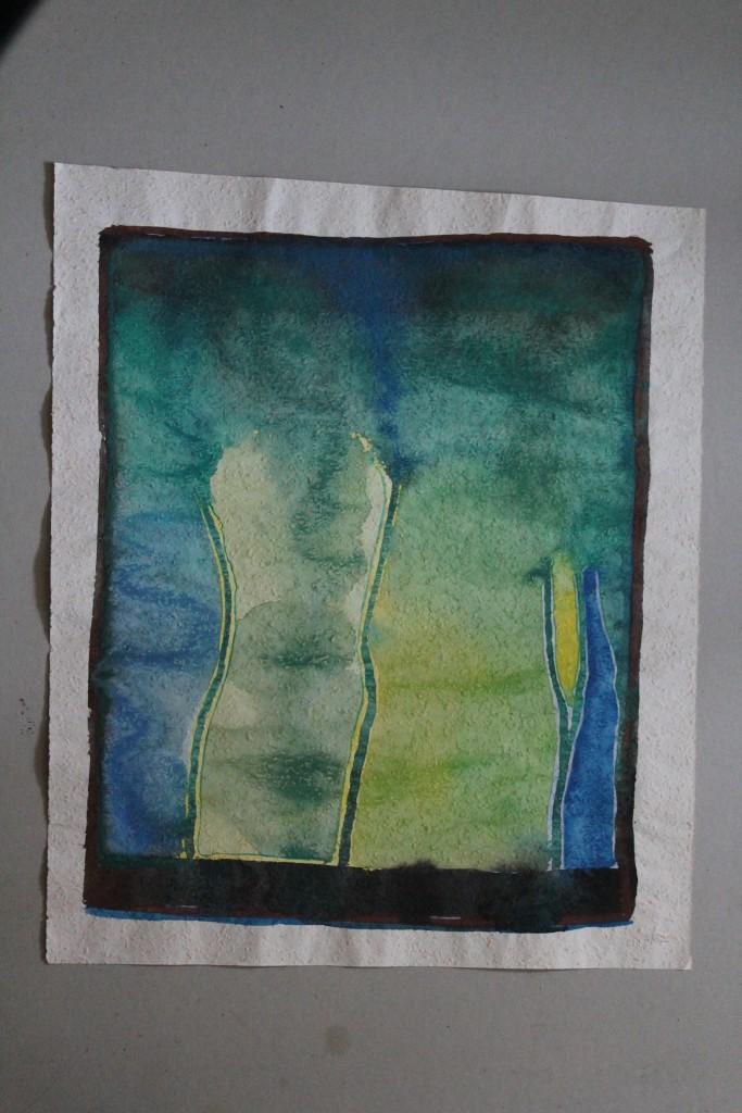 Aqua, Tempera auf Rauhfasertapete, 1982, 45 x 53