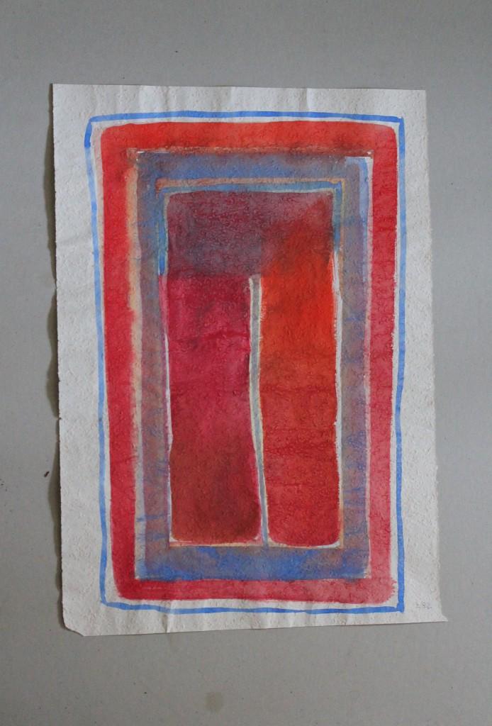 die Mitte (Grenzen), Tempera auf Rauhfasertapete, 1982, 37 x 53