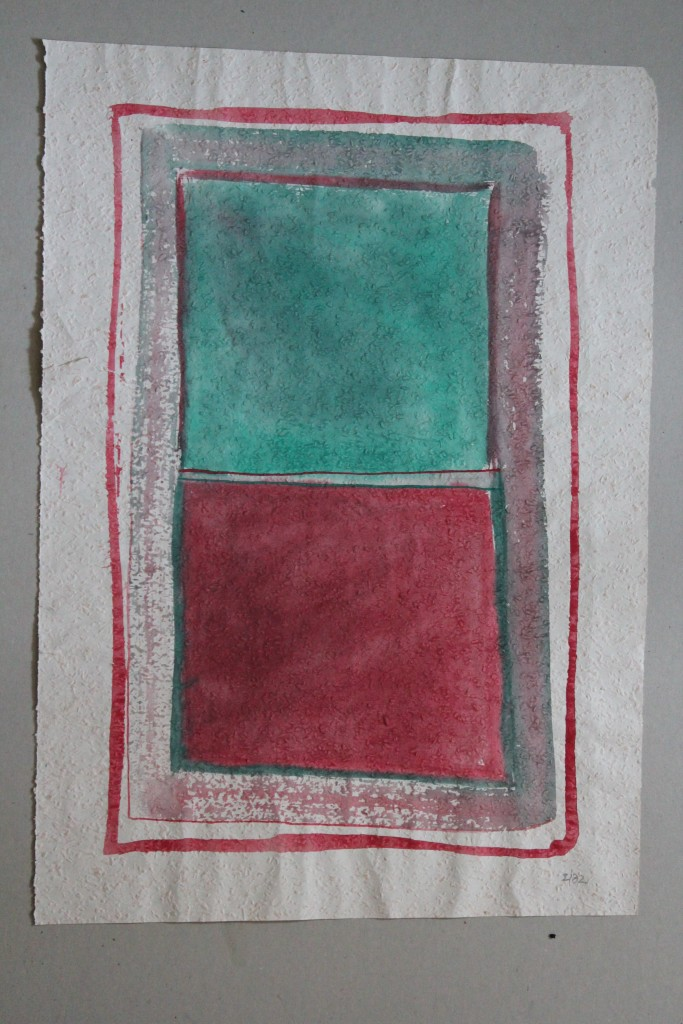 Gleichheit (Grenzen), Tempera auf Rauhfasertapete, 1982, 37 x 53