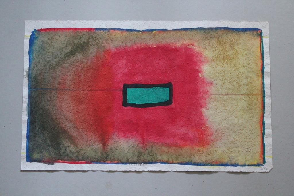 Mitte mit Borderline, Tempera auf Rauhfasertapete, 1982, 53 x 33
