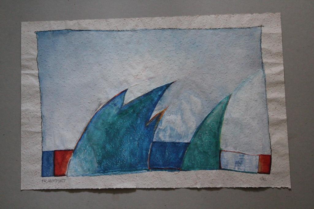 Frankfurt (im Winter), Tempera auf Rauhfasertapete, 1982, 53 x 36