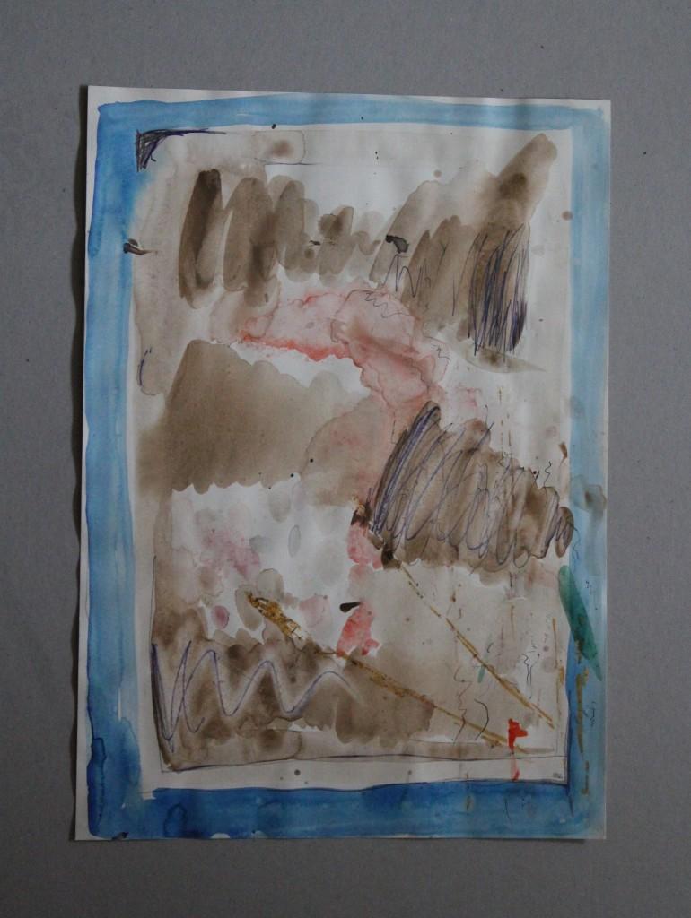 informelles Gesosse (Grenzen), Gouache/Stift auf Papier, 1982, 30 x 42