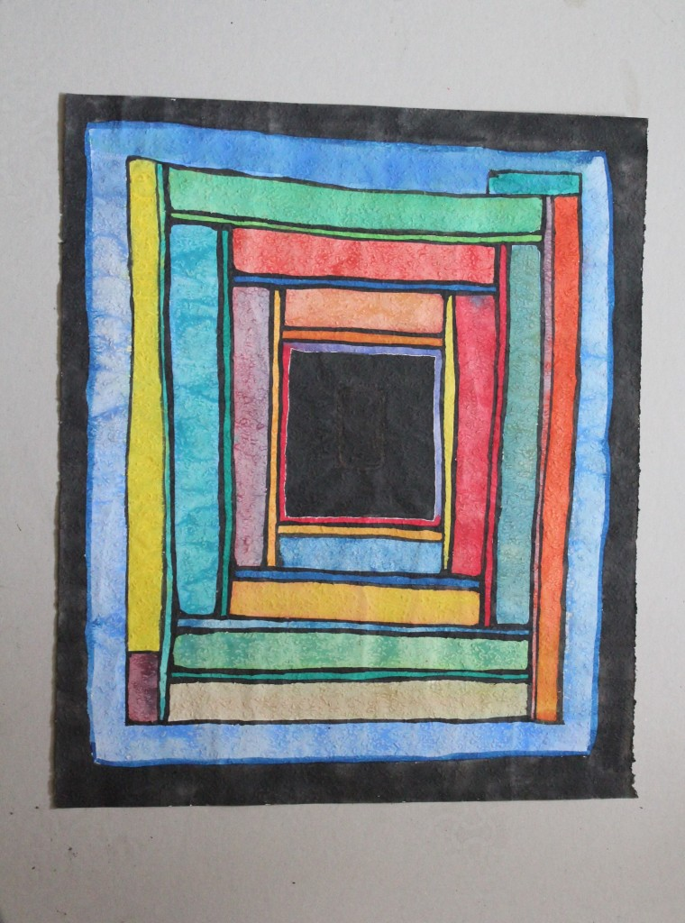 gefangen, Tempera auf Rauhfasertapete, 1982, 44 x 53