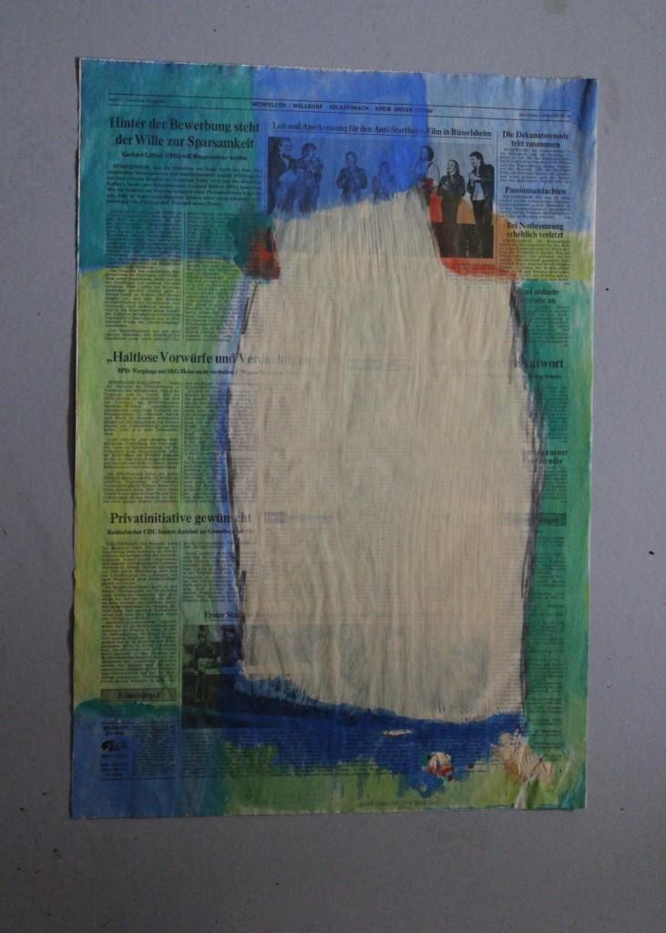 Kolumnen, Tempera und Dispersion auf Zeitungspapier, 80-er Jahre, 40 x 57