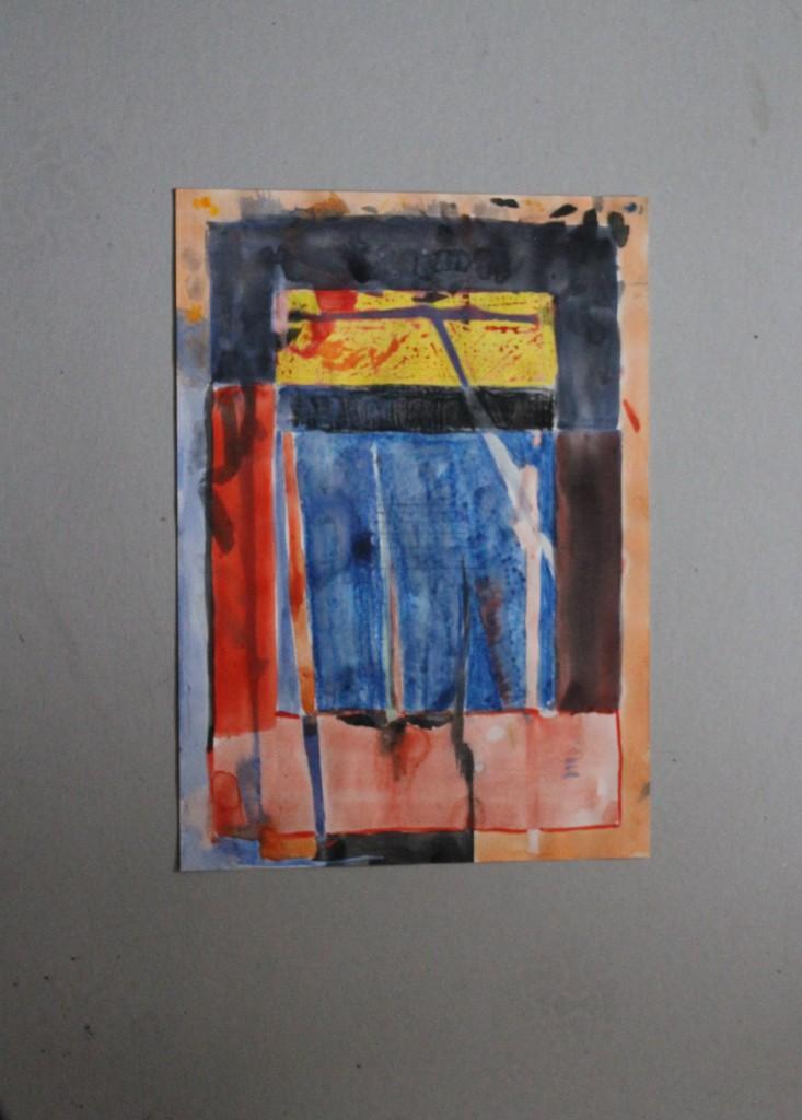 Gefängnis, Tempera auf Papier, 80-er Jahre, 30 x 42