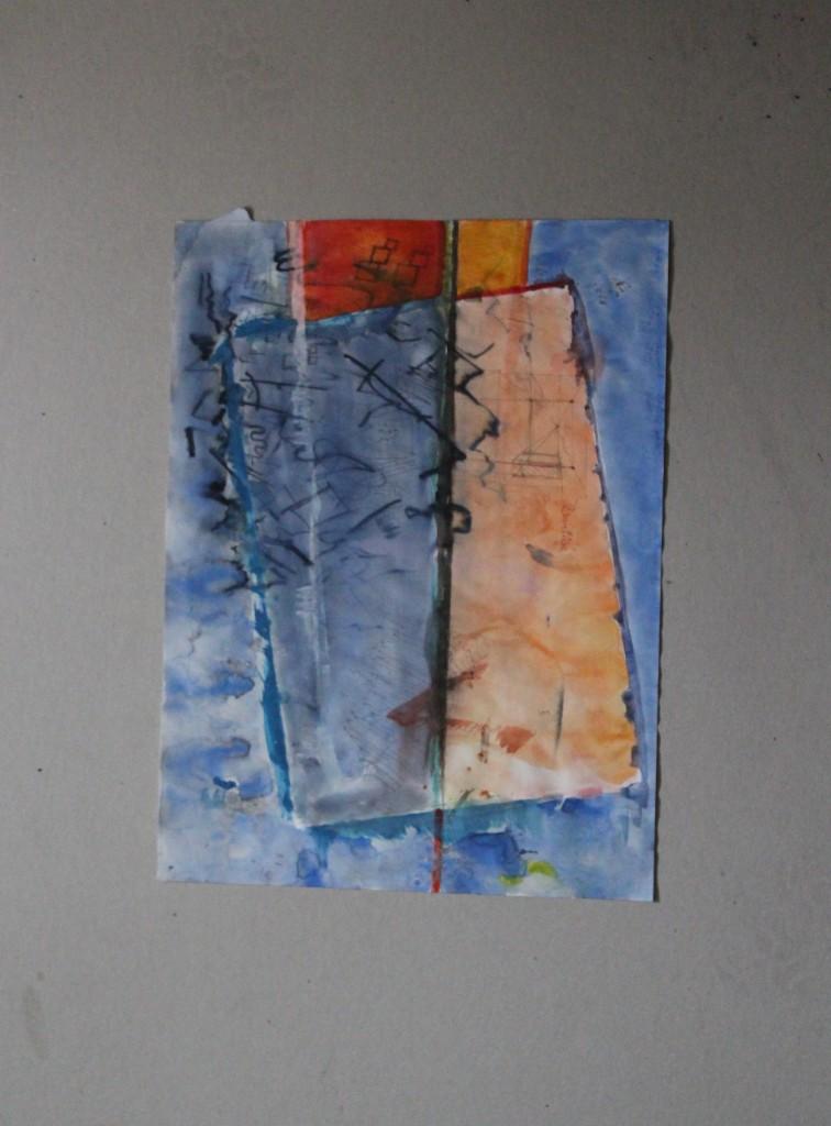 schräg informell, Tempera auf Papier, 80-er Jahre, 30 x 40