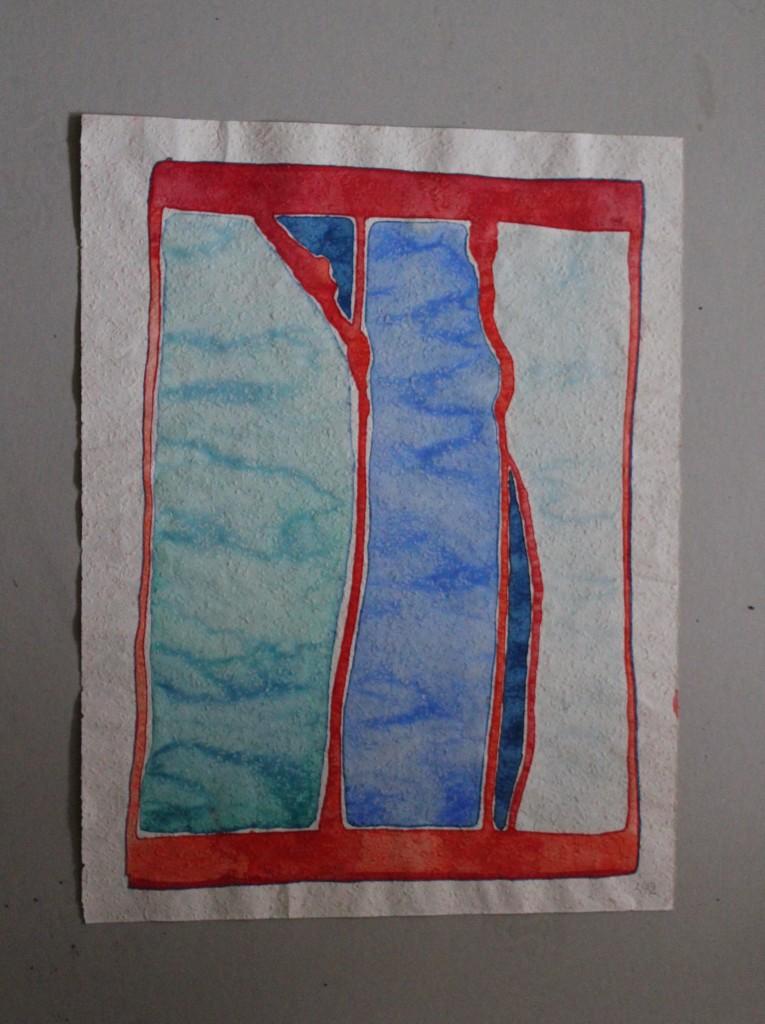 Man kann nie in den gleichen Fluss steigen, Tempera auf Rauhfasertapete, 1982, 41 x 53