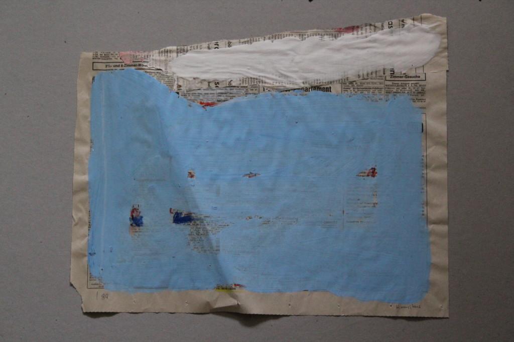 Blau-in-formell, Dispersion auf Zeitungspapier, 80-er Jahre, 40 x 33