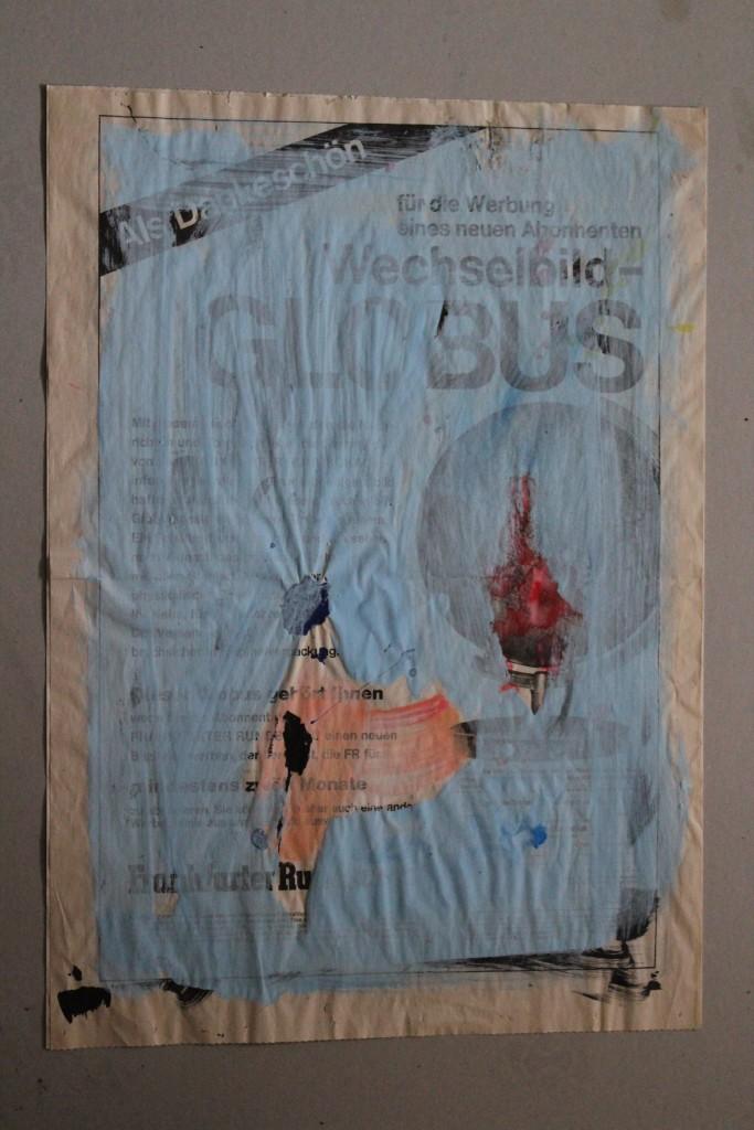 Globus, Dispersion auf Zeitungspapier, 80-er Jahre, 40 x 57
