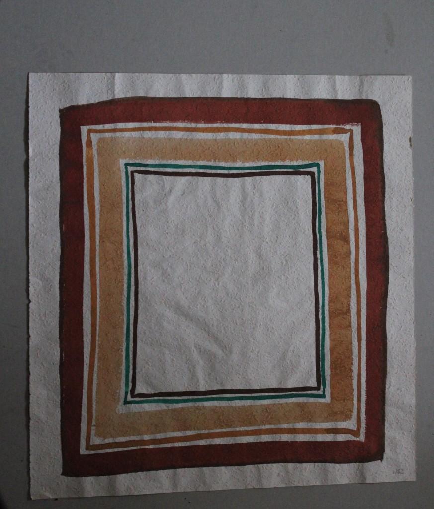 braune Rahmen, Tempera auf Rauhfasertapete, 1982, 49 x 53