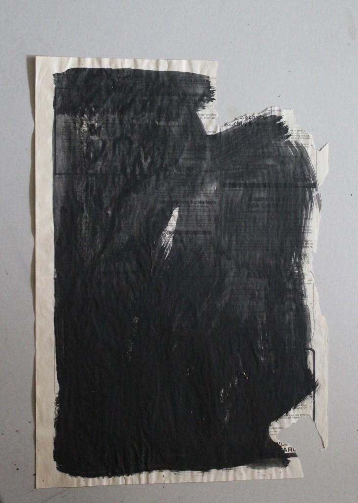 schwarz, informell, Dispersion auf Zeitungspapier, 80-er Jahre, 40,5 x 56,5