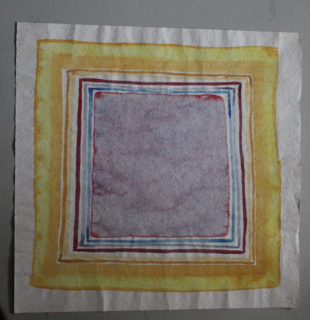 Problem im Quadrat, Tempera auf Rauhfasertapete, 1982, 53 x 54
